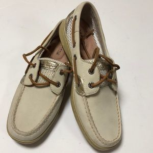 NEW Sperry Top Siders Size 7 Beige/Gold Leather